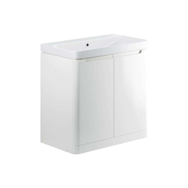 Lambra 800mm 2 Door Floor Standing Vanity Unit, White Gloss