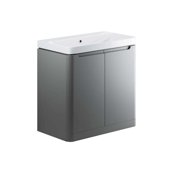 Lambra 800mm 2 Door Floor Standing Vanity Unit, Matt Grey