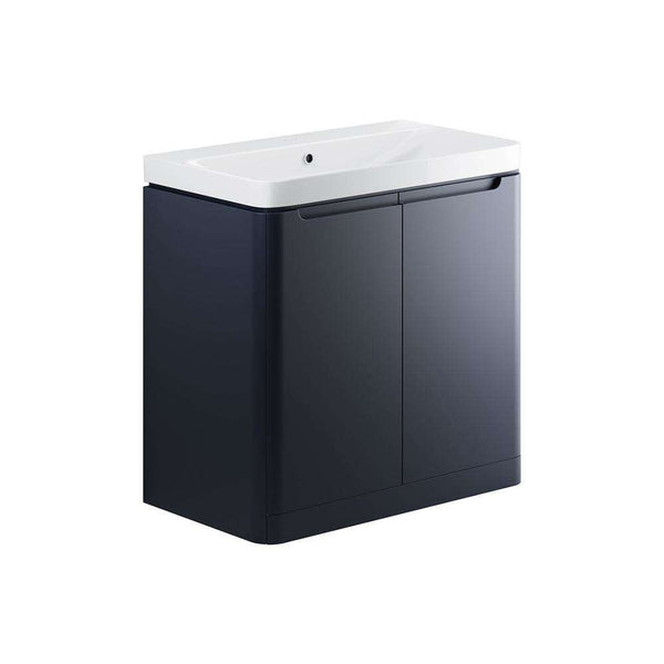 Lambra 800mm 2 Door Floor Standing Vanity Unit, Matt Indigo