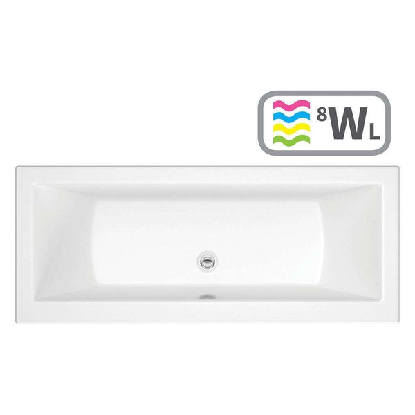 Solarna Supercast Double End 1800mm x 800mm 0TH Bath with Whirlpool System & LED