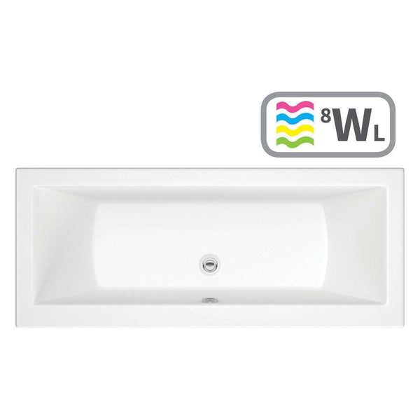 Solarna Supercast Double End 1700mm x 750mm 0TH Bath with Whirlpool System & LED