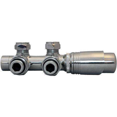 Eucotherm Deluxe Central Valves for Designer Radiators, Chrome - Angled