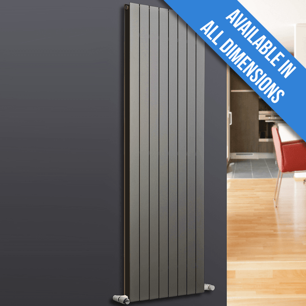 Eucotherm Mars Duo Vertical Double Flat Panel Designer Radiator, Anthracite - 1800mm x 595mm