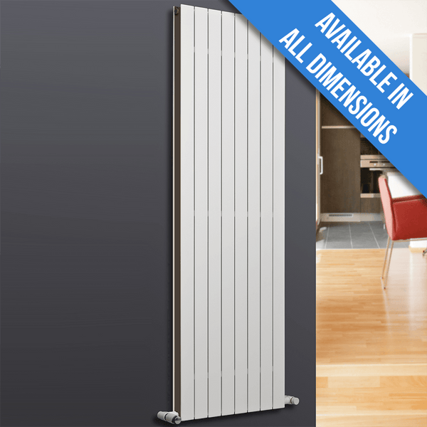 Eucotherm Mars Duo Vertical Double Flat Panel Designer Radiator, White - 1800mm x 445mm