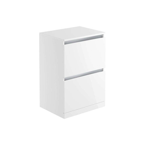 Carino 600mm 2 Drawer Freestanding Vanity Unit & Top, White Gloss