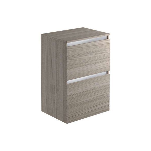 Carino 600mm 2 Drawer Freestanding Vanity Unit & Top, Grey Drift