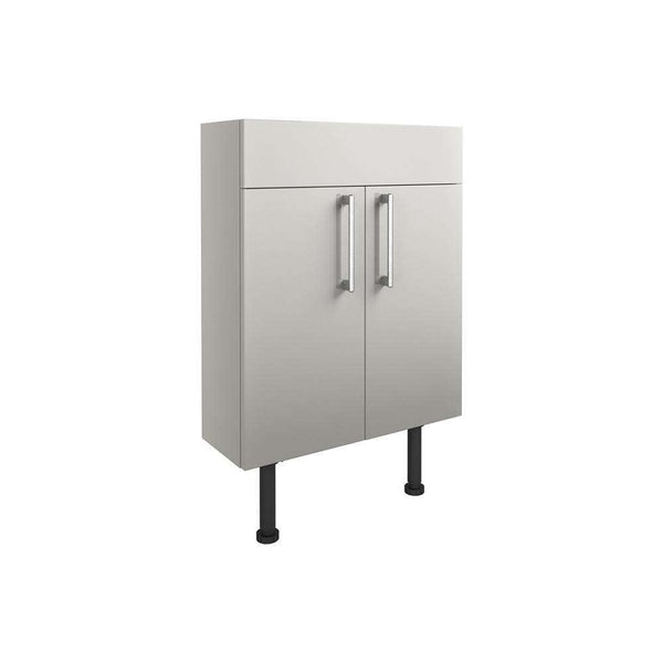 Alba 600mm Slim Vanity Unit, Light Grey Gloss