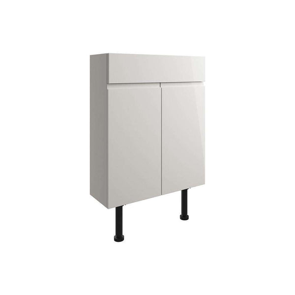 Valesso 600mm Slim Vanity Unit, Pearl Grey Gloss