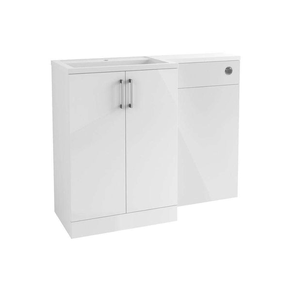 Volta 1100mm Freestanding Vanity, Basin & WC Pack (LH), White Gloss