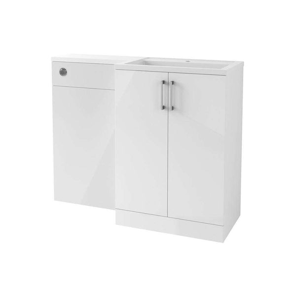 Volta 1100mm Freestanding Vanity, Basin & WC Pack (RH), White Gloss