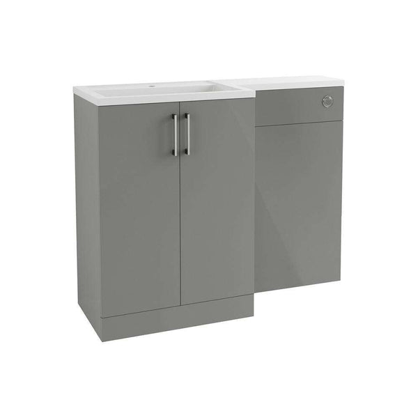 Volta 1100mm Freestanding Vanity, Basin & WC Pack (LH), Grey Gloss