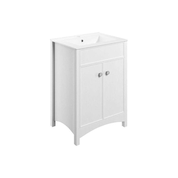 Lucia 600mm Freestanding Vanity Unit & Basin, Satin White Ash