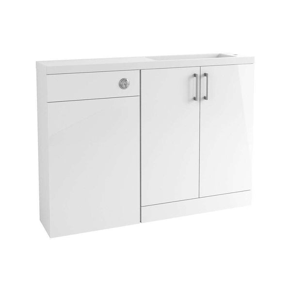 Volta 1207mm Space Saving Vanity, Basin & WC Pack, White Gloss