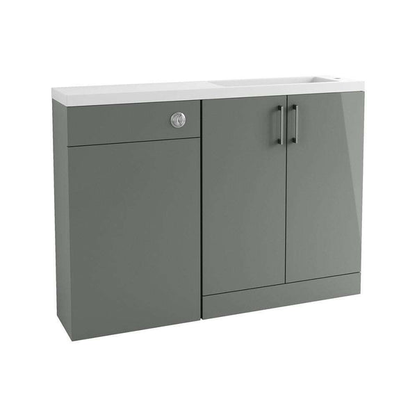 Volta 1207mm Space Saving Vanity, Basin & WC Pack, Grey Gloss