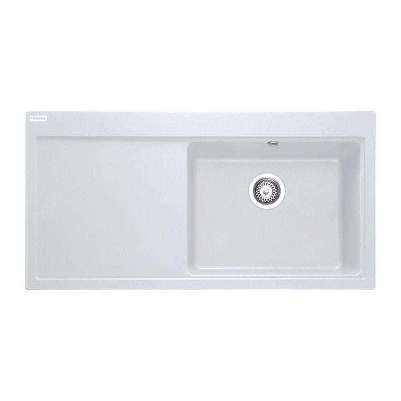 Franke Mythos MTG 611 Left Handed Fragranite 1.0 Bowl Inset Sink, White | 114.0045.906