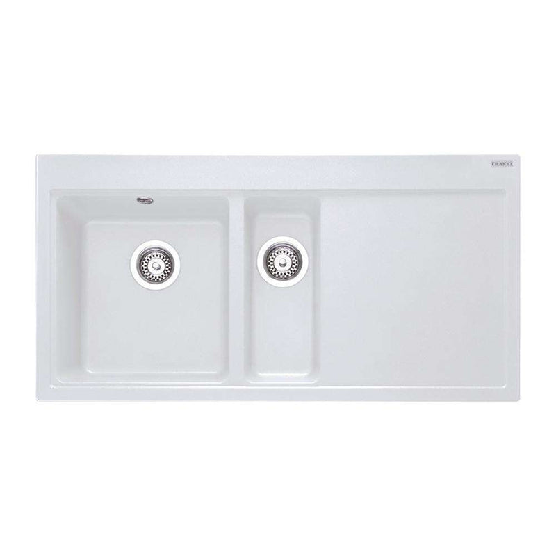 Franke Mythos MTG 651-100 Right Handed Fragranite 1.5 Bowl Inset Sink, White | 114.0046.314
