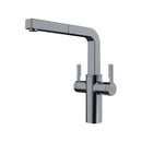 Franke Frames Dual Lever Mixer Tap with Pull-Out Nozzle, Decor Steel | 115.0370.634