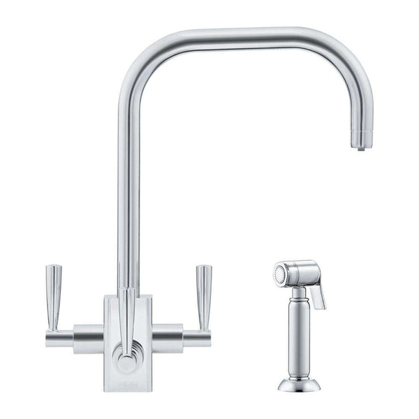 Franke Filterflow Kubus Mixer Tap w/Hand Spray, Silk Steel | 120.0187.983