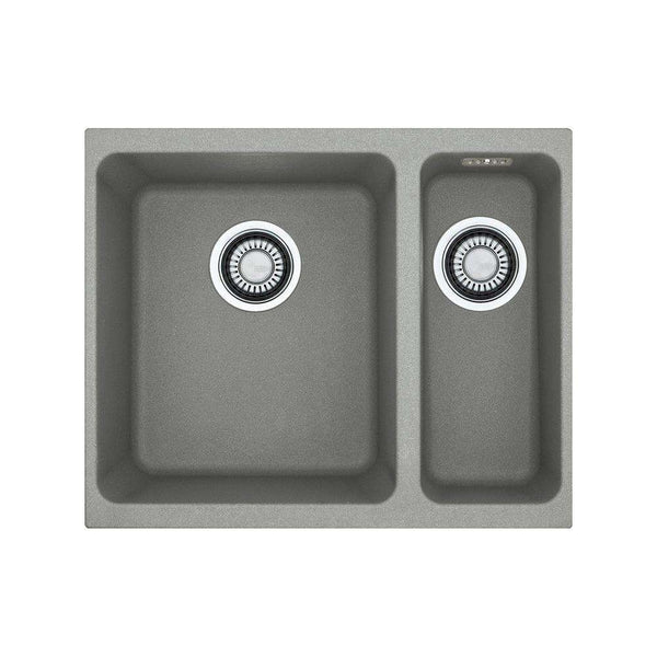 Franke Kubus KBG 160 Right Handed Small Bowl Fragranite 1.5 Bowl Undermount Sink, Stone Grey | 125.0435.862