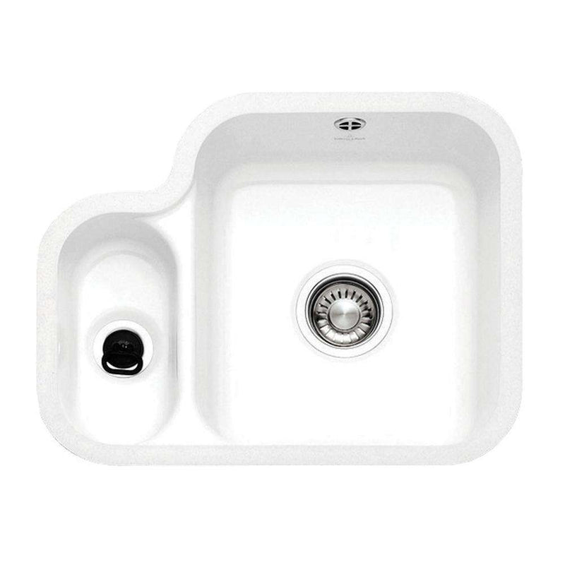 Franke VBK 160 Left Handed Small Bowl Ceramic 1.5 Bowl Undermount Sink, White | 126.0050.115