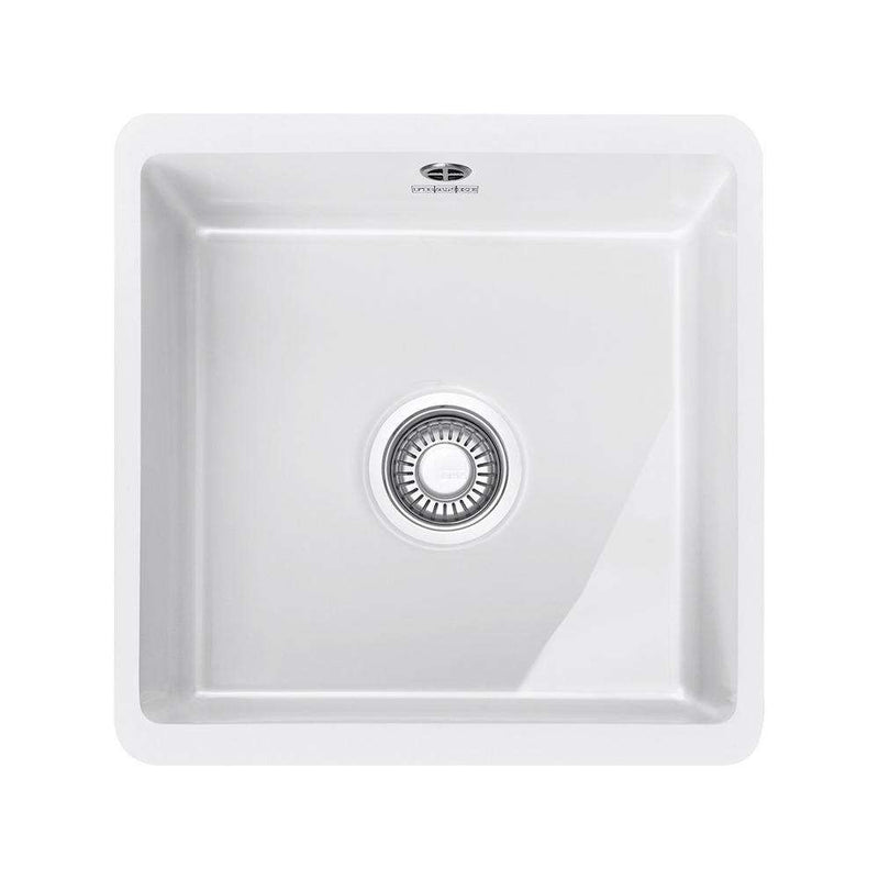 Franke Kubus KBK 110-40 Ceramic 1.0 Bowl Undermount Sink, White | 126.0330.592