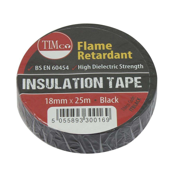 Timco PVC Insulation Tape - Black (25m x 18mm) - 10 Pieces