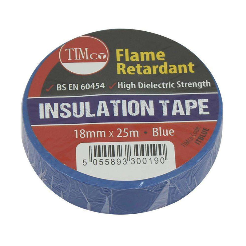 Timco PVC Insulation Tape - Blue (25m x 18mm) - 10 Pieces