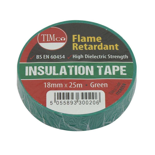 Timco PVC Insulation Tape - Green (25m x 18mm) - 10 Pieces