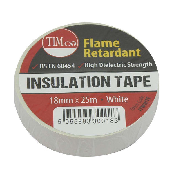 Timco PVC Insulation Tape - White (25m x 18mm) - 10 Pieces