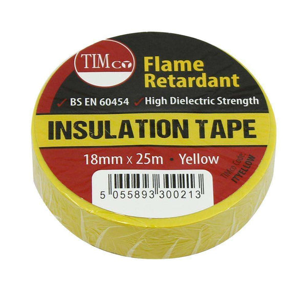 Timco PVC Insulation Tape - Yellow (25m x 18mm) - 10 Pieces