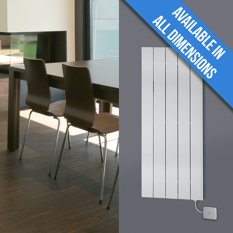 Eucotherm Mars Electro Vertical Single Flat Panel Designer Radiator, White - 1200mm x 595mm