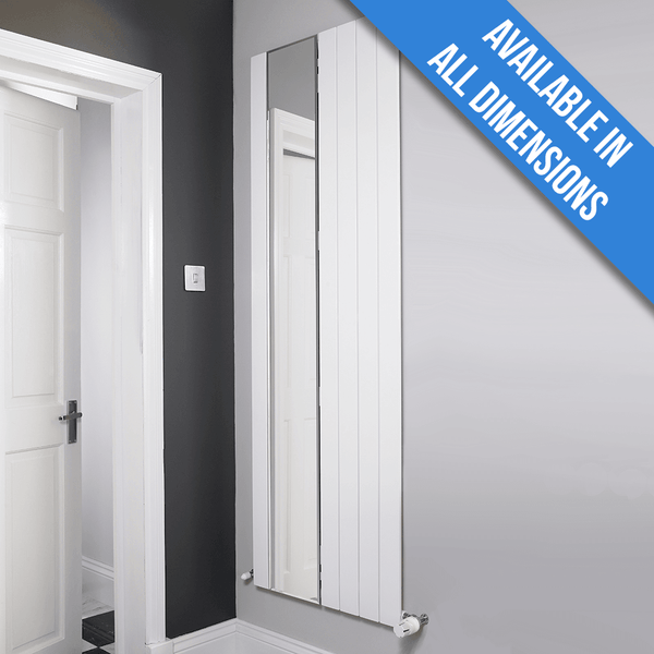 Eucotherm Mars Mirror Vertical Single Flat Panel Designer Radiator, White (1800mm x 595mm) - 1800mm x 595mm