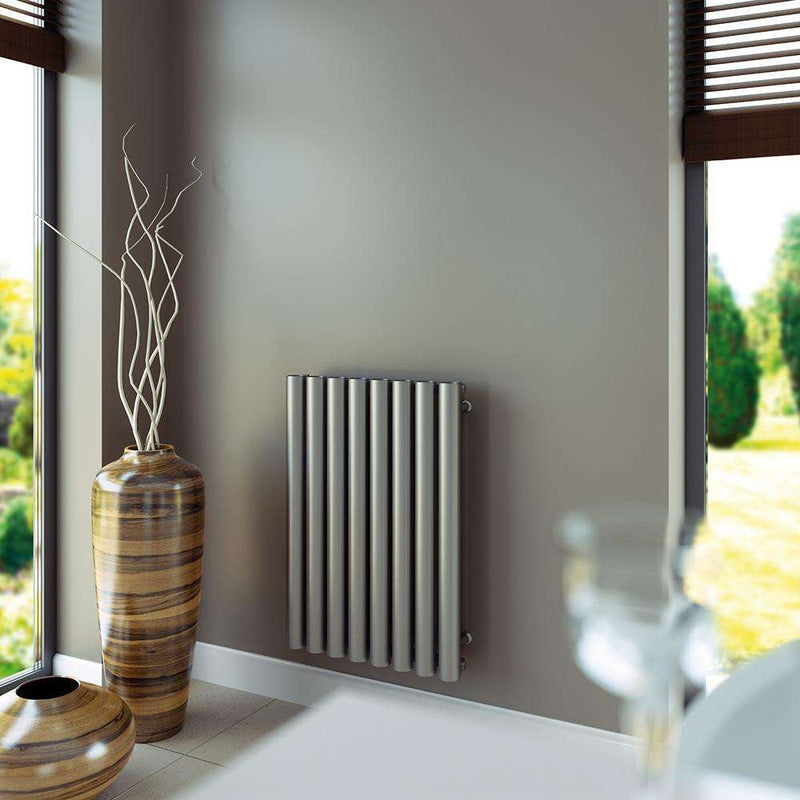 Aeon Mystic: Type E Stainless Steel Designer Radiator, Brushed - MYE608S | 600mm x 550mm | Brushed | MADE TO ORDER