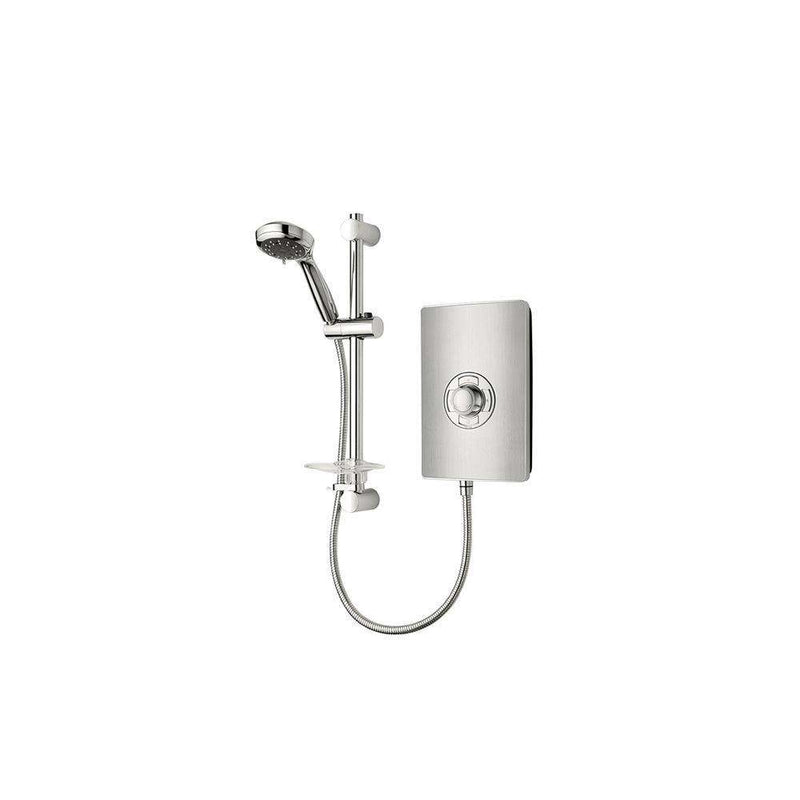 Triton Aspirante 8.5kW Contemporary Electric Shower, Brushed Steel