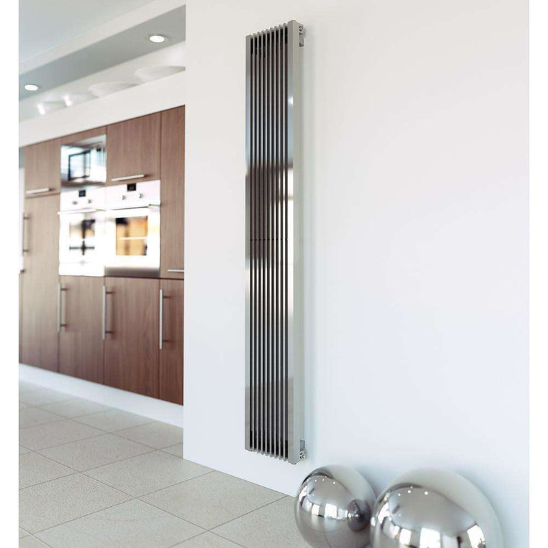 Aeon Stria Stainless Steel Designer Radiator - STR1808S | 1800mm x 225mm | Brushed