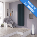 Eucotherm Supra Square Tube Vertical Designer Radiator, Anthracite - 1800mm x 550mm