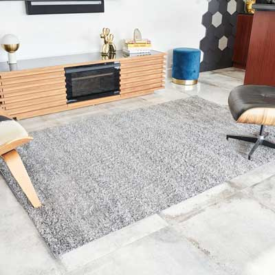 gray area rug in a TV lounge