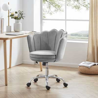 Belleze Furniture Seashell Swivel Office Chair in Pantone Ultimate Gray
