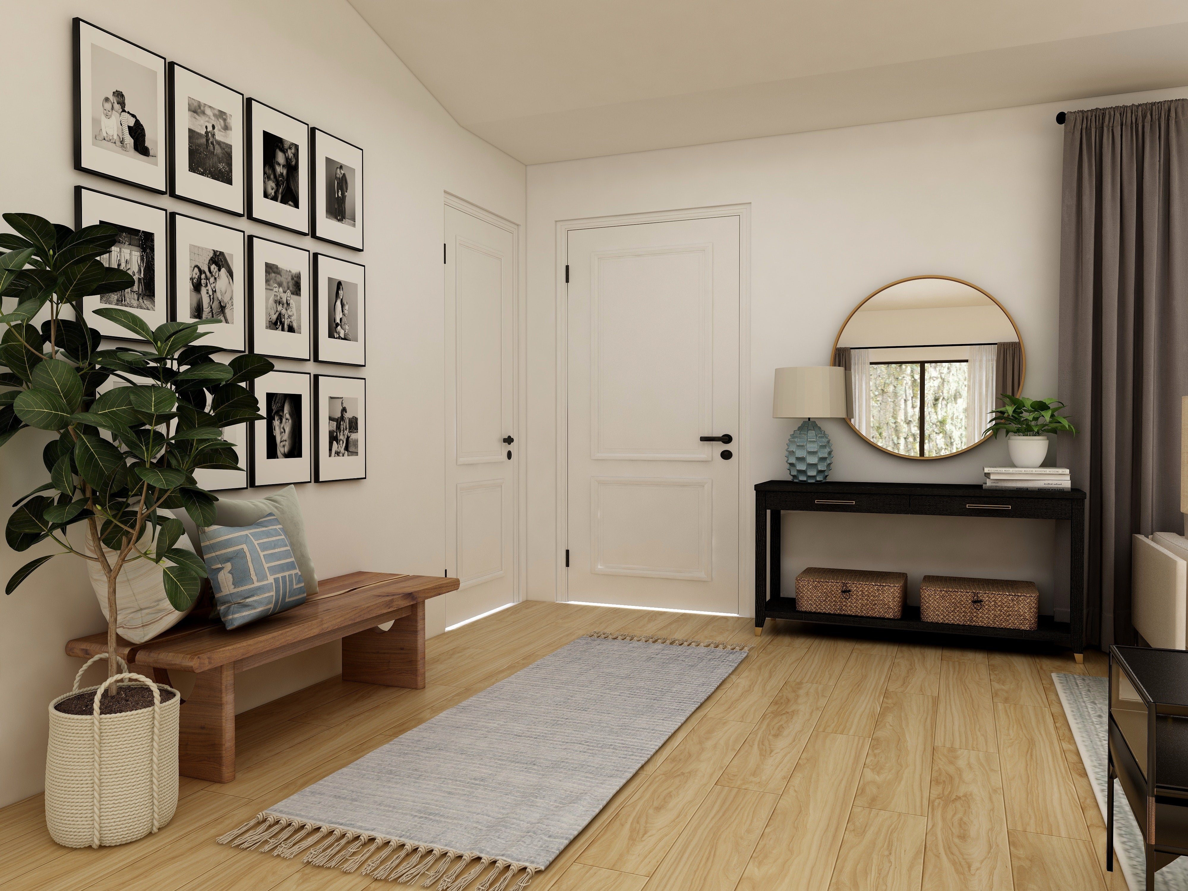 Image of Entryway to Home with Mirror and Plant in Hallway