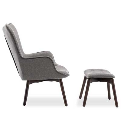 Belleze Furniture's lounge chairs with ottoman in gray