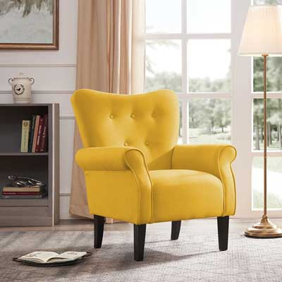 Accent chair from Belleze Furniture in Pantone Illuminating Yellow