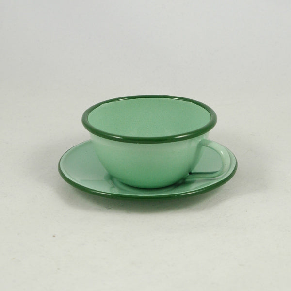 Enamel Tea Cup and Saucer