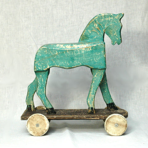 Painted Wooden Horse on wheels