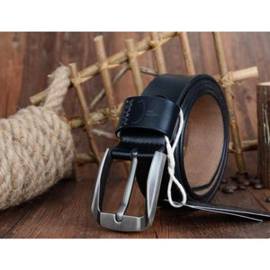Men's Genuine Leather Square Alloy Pin Buckle Closure Belts