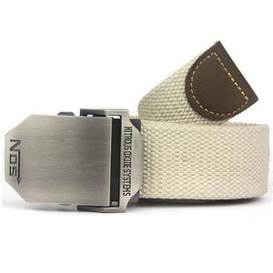 Men's Canvas Striped Pattern Military Tactical Alloy Buckle Belts