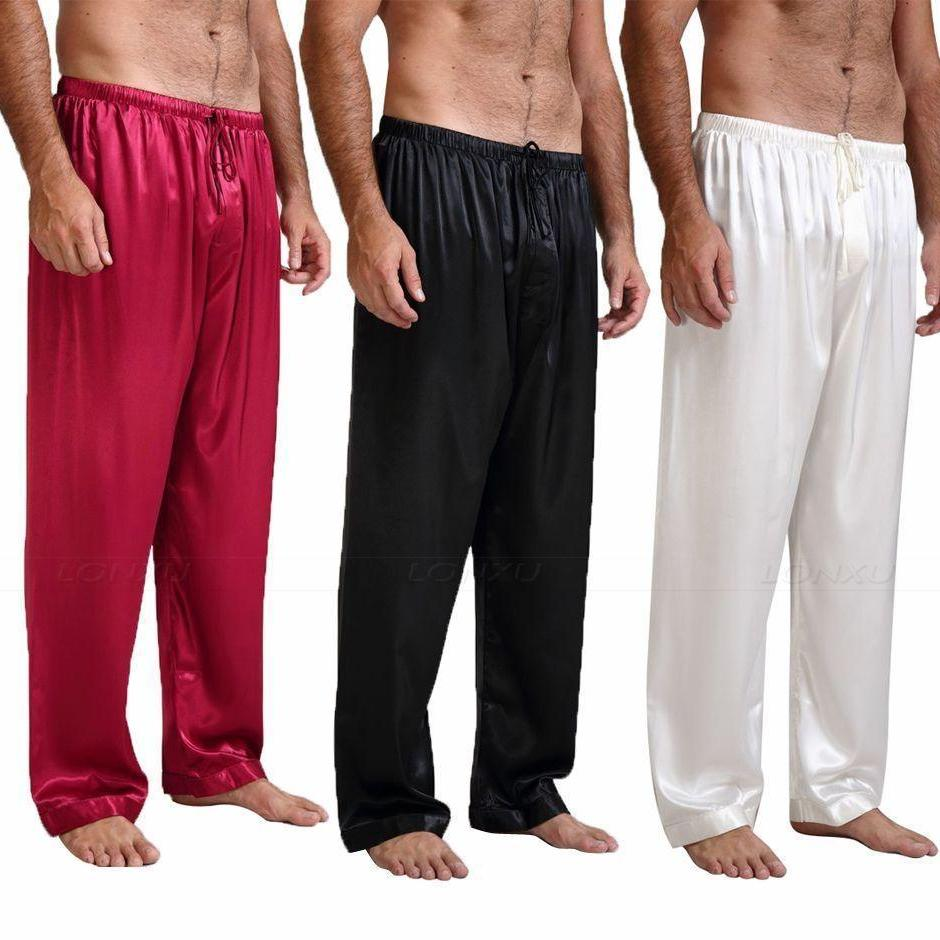 Men's Low Waist Solid Silk Plain Loose Breathable Ankle-Length Pants Nightwear Outfits