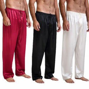 Men's Low Waist Silk Plain Loose Ankle-Length Pants Nightwear Outfits