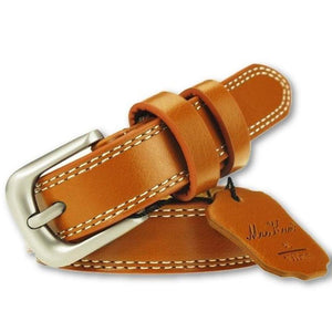 Women's Cow-Skin Waist Simple Pattern Alloy Buckle Belts