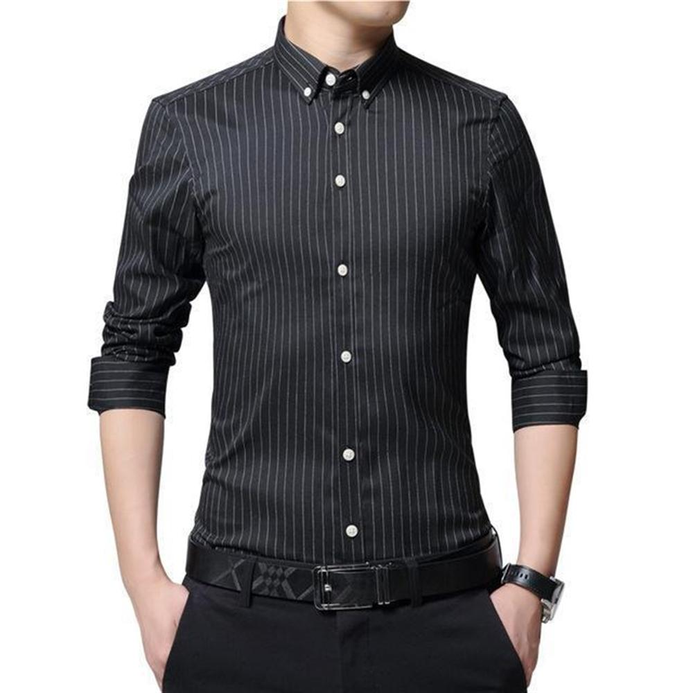 Men's Solid Turn-down Long Sleeve Single Breasted Striped Formal Shirts