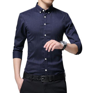Men's Turn-down Long Sleeve Linen Pattern Formal Shirts